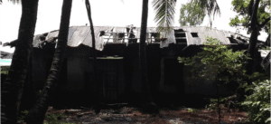 The damaged school roof