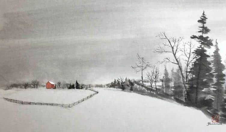 """Sumi-e """"Winter Scenery"""""""